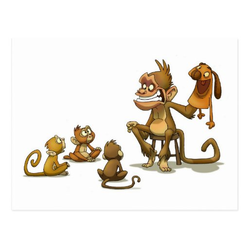 Affe-Marionetten-Postkarte