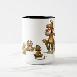 Affe-Marionetten-Show-Tasse Zweifarbige Tasse