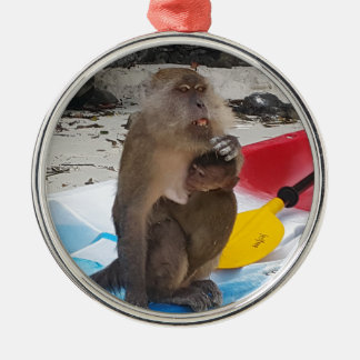 Affe-Mutter u. Baby Silbernes Ornament