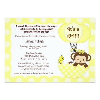 Affe-Piepmatz-Regenschirm-Babyparty-Einladung 12,7 X 17,8 Cm Einladungskarte