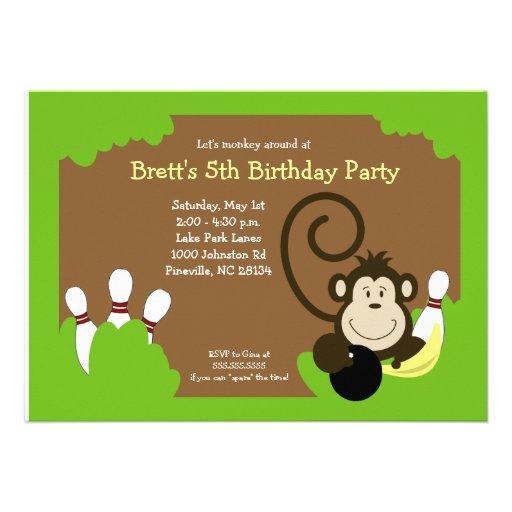 Affe-Schüssel-Bowlings-Party-Geburtstags-12x18 Individuelle Einladungskarte
