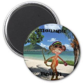 Affe-Strand-Knopf Runder Magnet 5,1 Cm