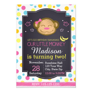Affe-Tafel-Geburtstags-Einladung (Rosa) Karte