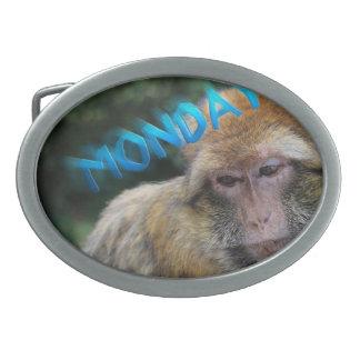 Affe traurig über Montag Ovale Gürtelschnallen