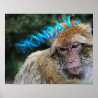Affe traurig über Montag Poster