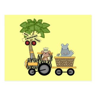 Affe-und Flusspferd-Zug-T-Shirts und Geschenke Postkarte