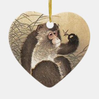 Affe und Schmetterling Keramik Herz-Ornament