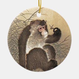 Affe und Schmetterling Keramik Ornament
