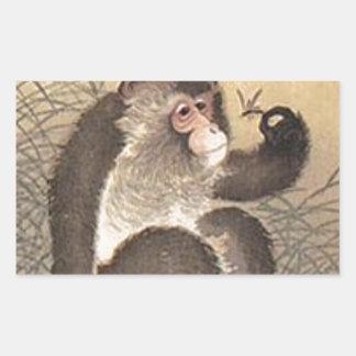 Affe und Schmetterling Rechteckiger Aufkleber