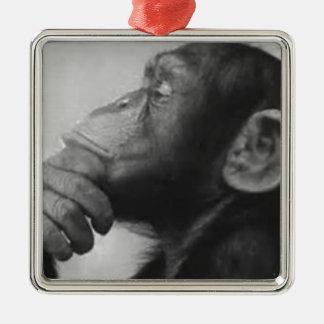 Affe-Uni Silbernes Ornament