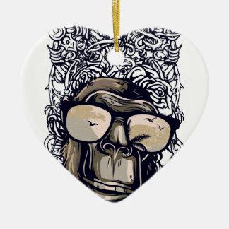 Affe Vintag mit glasess Keramik Herz-Ornament