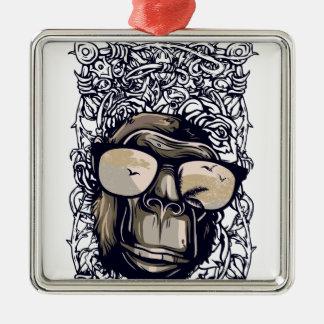 Affe Vintag mit glasess Quadratisches Silberfarbenes Ornament