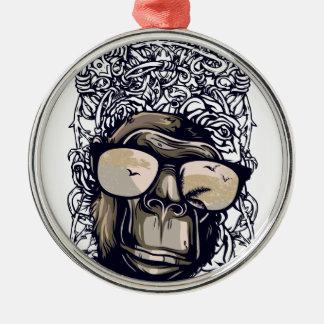 Affe Vintag mit glasess Silbernes Ornament