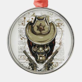 Affecowboyschädel mit Doppelgewehren Silbernes Ornament