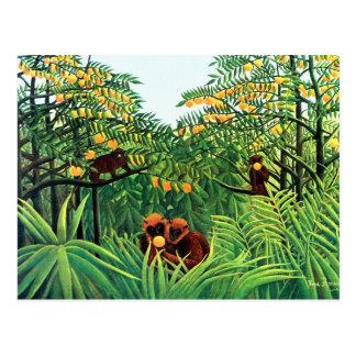 """""""Affen in der orange Waldung"""" durch Henri Rousseau Postkarte"""
