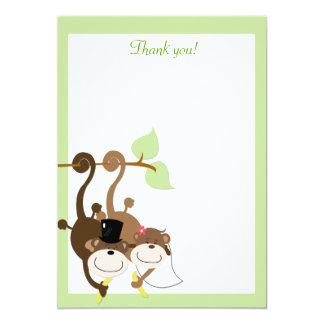 Affen in einer Baum-12x18 Ebene danken Ihnen zu 12,7 X 17,8 Cm Einladungskarte