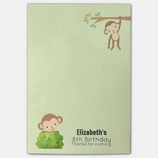 Affen Playful und Geburtstag-Dank Post-it Klebezettel