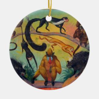 Affen und Stachelschweine Rundes Keramik Ornament