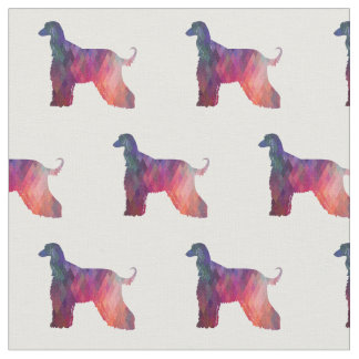Afghanen-Hundegeometrisches Muster-Silhouette-Rosa Stoff