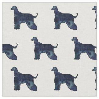 Afghanen-Hundeschwarzeswatercolor-Silhouette Stoff
