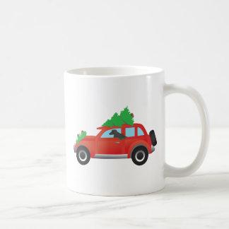 Afghanischer Jagdhund - Auto mit Weihnachtsbaum Kaffeetasse
