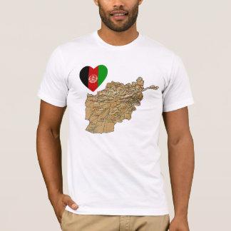 Afghanistan-Flaggen-Herz und Karten-T - Shirt
