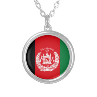 Afghanistan-Flaggenhalskette Versilberte Kette