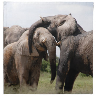 Afrika-Elefant-Familie Stoffserviette