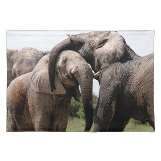 Afrika-Elefant-Familie Stofftischset
