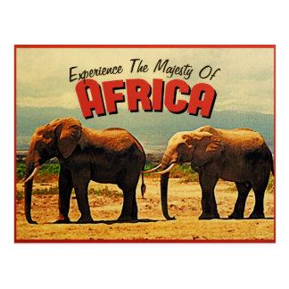 Afrika-Elefant-Vintage Reise Postkarte