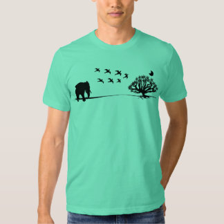 Afrika-Elefant-Vogel-und Baum-Afrika-Landschaft T-Shirts