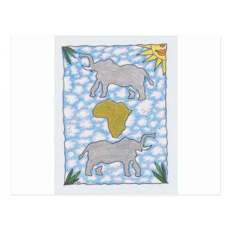 AFRIKA ELEFANTEN durch Ruth I. Rubin Postkarte