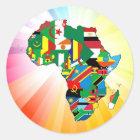 Afrika-Kontinent-Flaggen-Karte 2 Runder Aufkleber