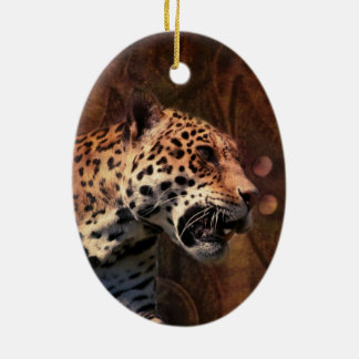 Afrika-Tiersafari tierischer wilder Leopard Keramik Ornament