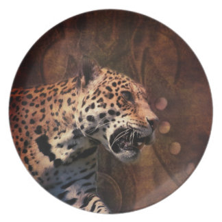 Afrika-Tiersafari tierischer wilder Leopard Melaminteller