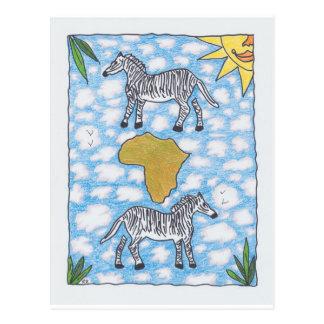 AFRIKA ZEBRAS durch Ruth I. Rubin Postkarte