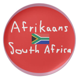 Afrikaans-Südafrikasprache und -flagge Melaminteller