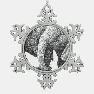 Afrikanische Elefanten Schneeflocken Zinn-Ornament