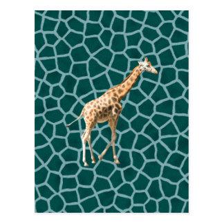 Afrikanische Giraffe auf blauer Tarnung Postkarte