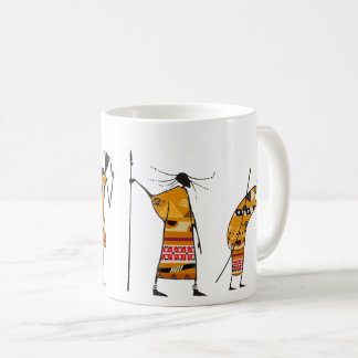 Afrikanische Grafik, Stammes- Jäger Kaffeetasse