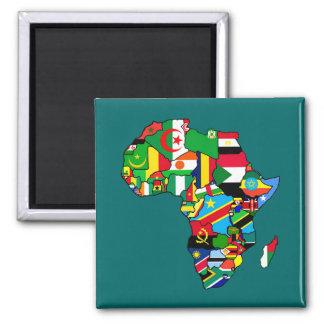 Afrikanische Karte von Afrika-Flaggen innerhalb de Quadratischer Magnet