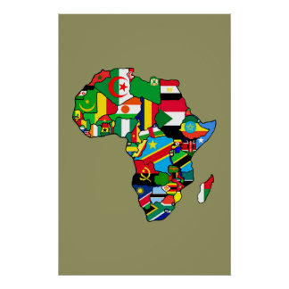 Afrikanische Karte von Afrika-Flaggen innerhalb de Plakatdrucke