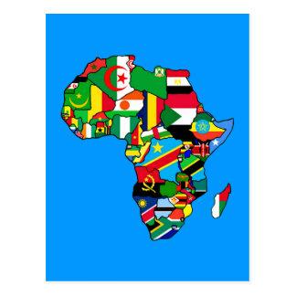 Afrikanische Karte von Afrika-Flaggen innerhalb Postkarte