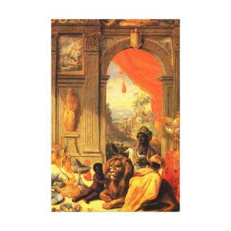 Afrikanische Königin und Sohn mit Löwe im Palast Leinwanddruck