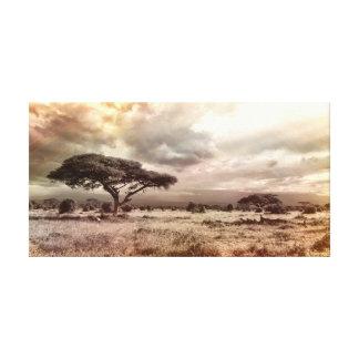 Afrikanische Landschaft unter dem Leinwanddruck