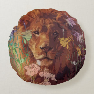 Afrikanische Löwe Baumwollrundes Wurfs-Kissen Rundes Kissen