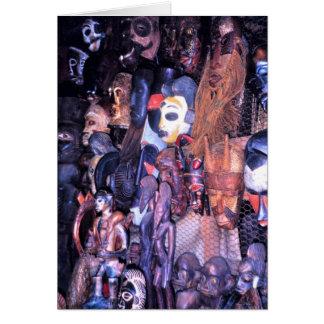 Afrikanische Masken im Markt, Lagos, Nigeria Karte