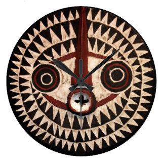 Afrikanische Masken-runde Wanduhr - Stammes- Dekor