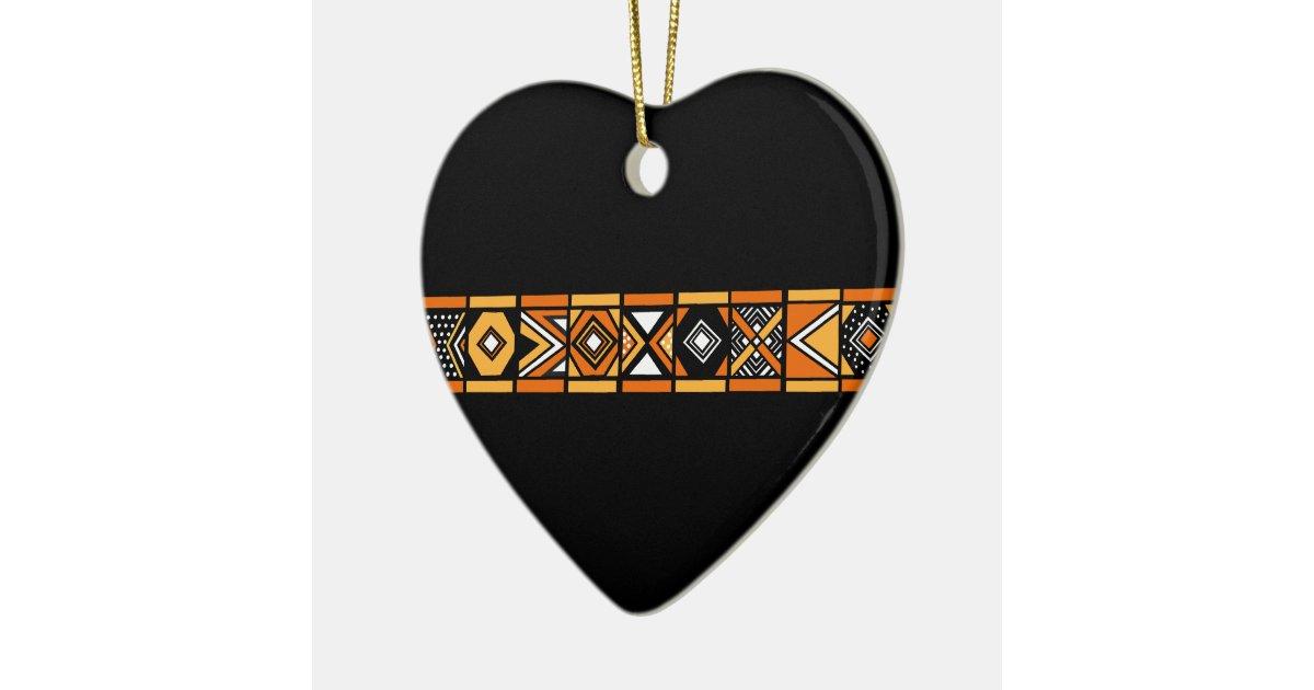 Afrikanische musterverzierung keramik herz ornament zazzle for Afrikanische weihnachtsdeko