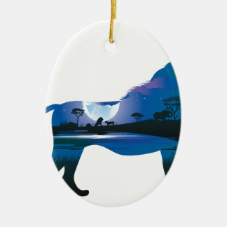 Afrikanische Nacht mit Löwe 2 Keramik Ornament